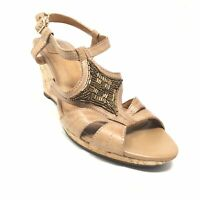 Women's Clarks Bendables Strappy Wedge Sandals Shoes Size 9 Brown Leather W1