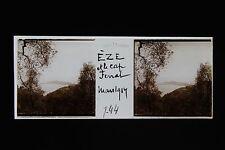 EZE et le Cap Ferrat Plaque stéréo 45x107mm 1914