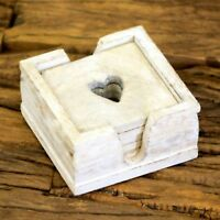 6 Vintage White Wooden Heart Wooden Coasters With Rustic Storage Box Drink Tea