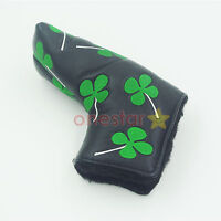 Shamrock Clover Golf Putter Club Cover Headcover for Scotty Cameron Ping (Black)