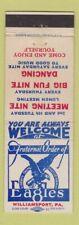 Matchbook Cover - Eagles Club Williamsport PA