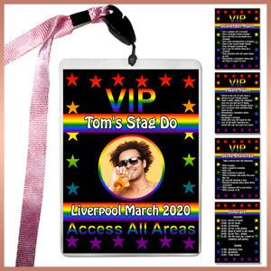 Personalised GAY PRIDE VIP Pass Lanyard + Photo Badge /Card Stag Do LGBT Party