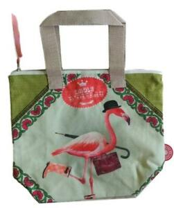 Bonjour Mon Coussin Designer Zip Up Canvas Tote Bag Purse Handbag Flamingo NEW