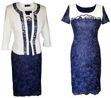 NAVY IVORY LACE MOTHER OF THE BRIDE GROOM OUTFIT 2 PIECE JACKET DRESS SIZE 20