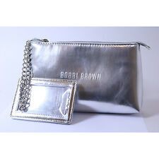 Bobbi Brown Makeup Bag Case Silver Small Chain W/mirror Cosmetic Purse