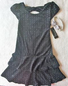 Mädchen Kleid festlich Set 2tlg 🌹 Samtkleid mit Glitzer + Haarband   146/152