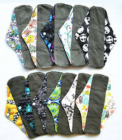 6 LONG Panty Liners CHARCOAL Bamboo Reusable Cloth Mama Menstrual Pads 10in