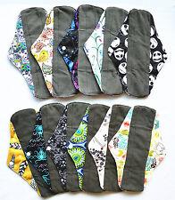 3 LONG Panty Liners CHARCOAL Bamboo Reusable Cloth Mama Menstrual Pads 10inch