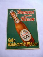 Brauerei zum Riesen Gebr.Waldschmidt Wetzlar Original altes Blechschild 1950er