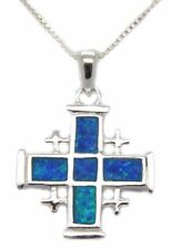 "LARGE STERLING SILVER JERUSALEM CROSS PENDANT OPAL 18"" SILVER NECKLACE ISRAEL"