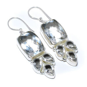 "White Topaz Gemstone 925 Sterling Silver Earring 2.15"" F2528"