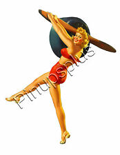 Retro WWII Bomber Nose Art Pinup Girl Propeller Waterslide Decal Sticker S797