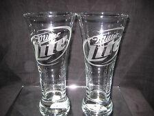 MILLER LITE BEER 20 oz PILSNER GLASSES 2 NEW