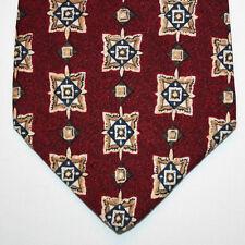 NEW Geoffrey Beene Silk Neck Tie Burgundy with Dark Blue and Beige Pattern 772