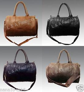 Ladies Unisex Celebrity Studded Bottom Black Duffel Tote Handbag Shoulder Bag