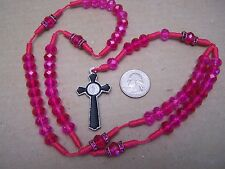 Rosary with Hot Pink Plastic Beads - Mexico