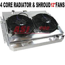 4-ROW 4CORE ALUMINUM RADIATOR +SHROUD FAN FOR 63-68 IMPALA MANY CHEVY GM CARS