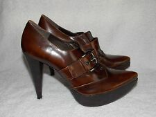 Stuart Weitzman Leather Buckle Brown POINTY TOE Pump Heels 7M Used