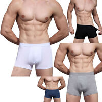 Mens Sexy Underwear Bamboo Fiber Boxer Briefs Shorts Bulge Pouch Soft Underpants