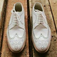 Handmade Men's White Leather Heart Medallion Dress Formal Shoes