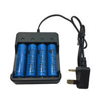 4X 18650 Batteries 3800mAh 3.7V Li-ion Rechargeable Battery + 4.2V UK Charger