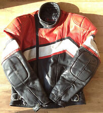 "Sportex Thick Padded Leather Zipped Motorcycle Biker Jacket Medium 40-42"" Chest"