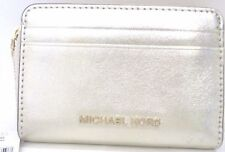 Michael Kors Money Pieces Card Case Pale Gold Metallic Leather Zip Around $68