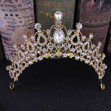Rhinestone Crystal Tiara Crown Women Headdress Bridal Elegant Hair Accessorie Fs