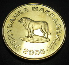 WORLD COINS: MACEDONIA 1 Dinar 2008 AU/BU MAKEDONIJA 1 DENAR DOG RARE COIN