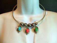 VINTAGE SILVERPLATED DANGLY FAUX TURQUOISE JADE CANELIAN CHOKER NECKLACE ESTATE