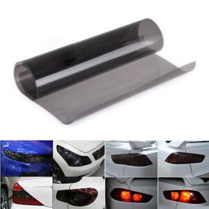 "Gloss Light Black Smoke Vinyl Film Tint 16"" x 60"" Headlight Taillight Wrap Cover"