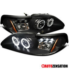 For 1994 1998 Ford Mustang Black Halo Projector Headlightsled Lamps Leftright Fits Mustang