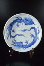 X5830: Japanese Old Imari-ware Blue&White Dragon Pattern ORNAMENTAL PLATE/Dish
