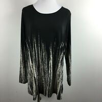 Susan Graver Large Knit Top Black Abstract Print Long Sleeve Scoop Neck Stretch