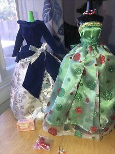 Barbie Lot Genuine Long Sparkle Dress 2 Dresses Holiday Christmas Evening Gown