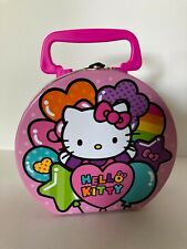Hello Kitty Pink Metal Party Favor Container Handle/Latch Hearts Stars Balloons