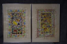 2 Vintage Mexican Papel Amate White Bark Paintings by Isidro Venancio - Signed