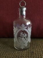 Antique Victorian Era Etched Floral Glass Bottle with Silver Cork Stopper