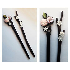2 x natural carved pink conch shell mother of pearl flower wood hair stick pin