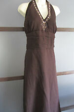 Robbie Bee Dress Brown SILK Halter Sequins Empire Waist 20W 1X 2X Plus