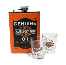 FLASK SHOT STAINLESS STEEL OIL CAN GRAPHICS HARLEY DAVIDSON VINTAGE RETRO GIFT