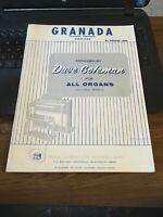 Vintage Sheet Music - Granada, Agustin Lara, Simplified Organ, Dave Coleman 1965