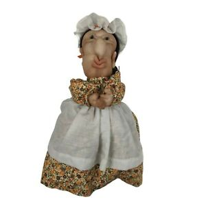 Vintage Cloth Odd Ugly Old Lady Hand Puppet