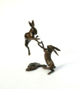 Hares Boxing  Solid Bronze Miniature Sculpture Butler and Peach Boxed ( 2012)