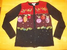 DressBarn Ugly CHRISTMAS SWEATER SEQUINED M Medium Black Full Zipper Ornaments