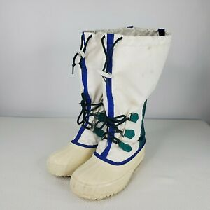 Vintage Sorel Canada Freestyle White Snow Winter Boots Womens Size 6