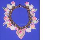 Beautiful Old Charm Bracelet Figural Heart Pendant Birds Flowers Double Links