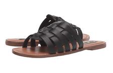 Steve Madden Size 9 Masi Black Leather Slip on Open Toe Sandals Womens Shoes