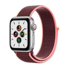 Apple Watch SE GPS + Cellular, 40mm Silver Aluminum Case with Plum Sport Loop