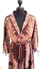Retro Vtg Paisley Print Shirt Dress Mustard Orange Made in UK S-M 10 38